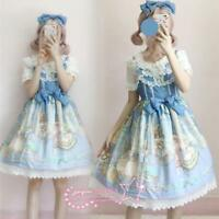 Kawaii Japanese Girl's Lolita Vintage Lace Bowknot Palace Princess Dresses Muk15