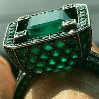 Vintage 925 Silver Emerald Band Ring Fashion Women Men Wedding Jewelry Size 6-10