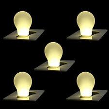 5 Pcs Mini Wallet Pocket Credit Card Size Portable LED Night Light Lamp Bulbs