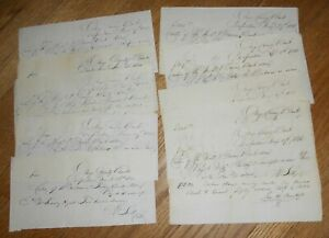 Lot of 10 Antique 1836-40 Manuscript Receipts Ostego County Bank Cooperstown NY