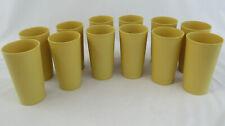Vintage Lot of 12 Tupperware #873 Harvest Gold Glasses 12 oz Tumblers