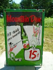 OLD VINTAGE HILLBILLY MOUNTAIN DEW 15 CENTS PORCELAIN ADVERTISING SIGN SODA POP