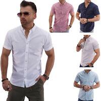 Jack & Jones Herren Leinenhemd Kurzarmhemd Sommerhemd Chic Business Unifarben