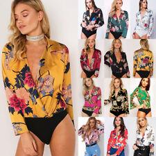 UK Women Ladies Sexy Floral Tuxedo Wrap Over Satin Bodysuit Leotard Top Jumpsuit