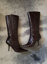 GIUSEPPE ZANOTTI Women's Croc Dark Brown Leather Boots Size 38 GUC