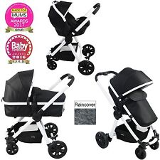 NEW RED KITE GALAXY BLACK PUSH ME FUSION 3 IN 1 PRAM PUSHCHAIR TRAVEL SYSTEM