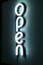 Led Open Sign for Business, Bright White Classic Modern Vertical Neon Style