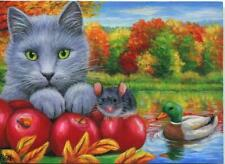 ACEO GRAY GREEN EYES CAT RED APPLES MOUSE MALLARD DUCK POND AUTUMN TREE PAINTING