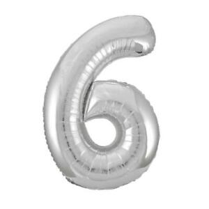 """Giant 34"""" Number 6 Silver Foil Helium Balloon"""