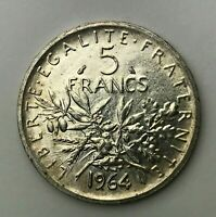 Dated : 1964 - Silver Coin - France - 5 Francs - Five Franc Coin