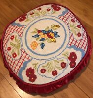 Antique Hand Crafted Decorative Trow Pillow Needlepoint Wool front With Flowers