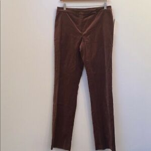 NWT $210 David Meister solid brown pants size 4