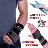 Copper Wrist Brace Hand Support Gloves Carpal Tunnel Splint RSI Sprain Pain US