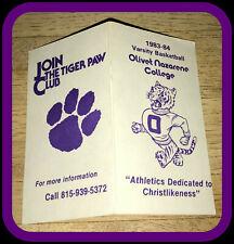 1983-84 OLIVET NAZARENE TIGERS TIGER PAW CLUB BASKETBALL POCKET SCHEDULE