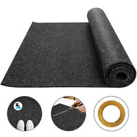 "Rolled Rubber Gym Fitness Flooring 3.6'x15.3' Roll,3/8"" 8mm Grey Speckle"
