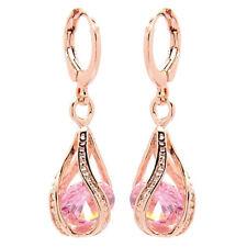 Aretes colgantes de CZ piedra chapado en oro rosa de mujer - rosa I2A8