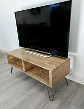 Retro Reclaimed Pallet Wood TV Table TURVAS with Vintage Hairpin Legs