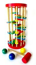 Montessori Wooden Pounding Tower Maze with Mallet for Toddlers and Preschoolers