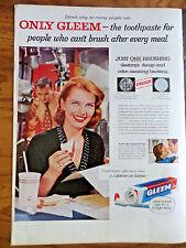1956 Gleem Toothpaste Ad   Lady in the Music Studio