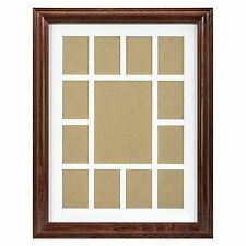 Craig Frames, 12x16 Cherry Wood Picture Frame, White Collage Mat, 13 Openings