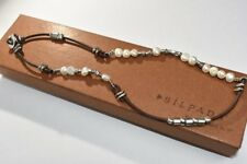 Silpada N1063 Sterling Silver 925 Button Clasp Leather Freshwater Pearl Necklace
