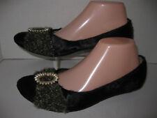 Kenzie womens size 8.5m black leather fur ballet flats