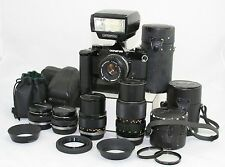Olympus OM-1 MD, vintage camera 35mm SLR + 5x OM Zuiko lens + flash + bags.