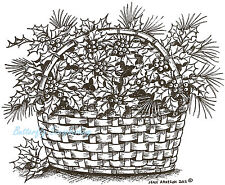 Christmas Holly Basket Wood Mounted Rubber Stamp Northwoods P8750 New