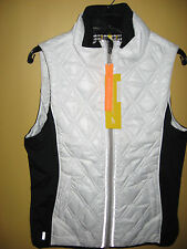 Womens NWT White wBlack LOLE Insulated Puffer Icy Vest 10 - 12 Large