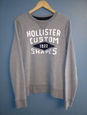 Hollister Mens Large Cotton Blend Gray Enbroidered Long Sleeve Sweatshirt