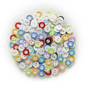 100pcs Mixed Round Resin Buttons for Sewing Scrapbooking Cloth Home Decor 12mm