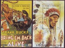 Sao Tome E Principe 2 Different Used Mini Sheets - 1 each Movie & Indian Chief