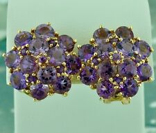 10.10 ct Amethyst Earring 14K Yellow Gold 9.70 Grams Cluster Starburst Omegaclip