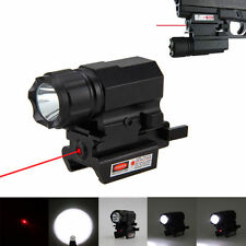 Mini 200LM LED Tactical Gun Flashlight QR Quick Release Rail Mount Red Dot Laser