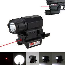Mini 200LM LED Tactical Gun Flashlight QR Quick Release Rail Mount Red Dot Laser