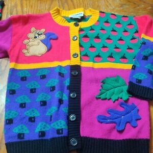 VTG 80's Knitwaves Knit Waves Kids Med USA Sweater Squirrel Tacky Funky Colorful