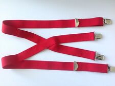 """1.5"""" Wide Work Suspenders Non-Slip Adjuster Red Terry Large Adult Heavy Duty"""