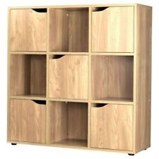 Oak Finish 9 Cube 5 Door Wooden Storage Unit Display Shelving Book Shelves Shelf