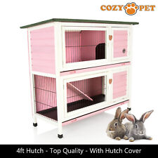 Rabbit Hutch by Cozy Pet 4 ft Pink with Cover 2 Levels Guinea Pig Run Ferret