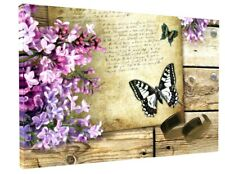 STUNNING BUTTERFLY PURPLE FLOWERS  CANVAS PICTURE WALL ART 1190