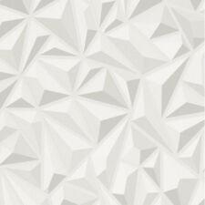 3D Effect White Grey Geometric Wallpaper Textured Luxury Vinyl Modern Erismann