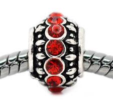 Red Rhinestone July Birthstone Spacer Charm for Silver European Bead Bracelets