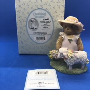 Cherished Teddies APRIL / 107062 / Girl with eggs and sheep / MIB Easter