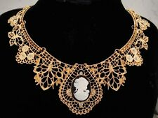 necklace 18k gold p metal lace black white cameo clear crystal vintage styl FIOJ