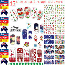 45x Christmas Nail Stickers Wraps water transfer nail art DIY decoration decals