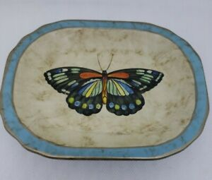 """Echo Point Collection Rustic Y2K Black Blue Butterfly Trinket Soap Dish 7x5"""""""