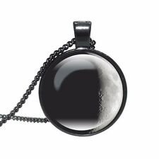 GALAXY MOON PENDANT NECKLACE / Chain Glass Jewellery Gift Idea Space Lunar