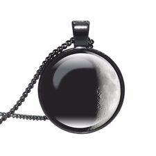 Collana con pendente luna Galaxy/catena gioielli vetro regalo idea Spazio Lunar