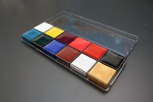 Face & Body Paint Set 12 Colours Palettes Pallete Face Painting Art Make Up Kit