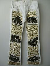 LEVI'S STRAUSS WHITE & GOLD EMBELLISHED JEANS SIZE 12 LONG - NEW